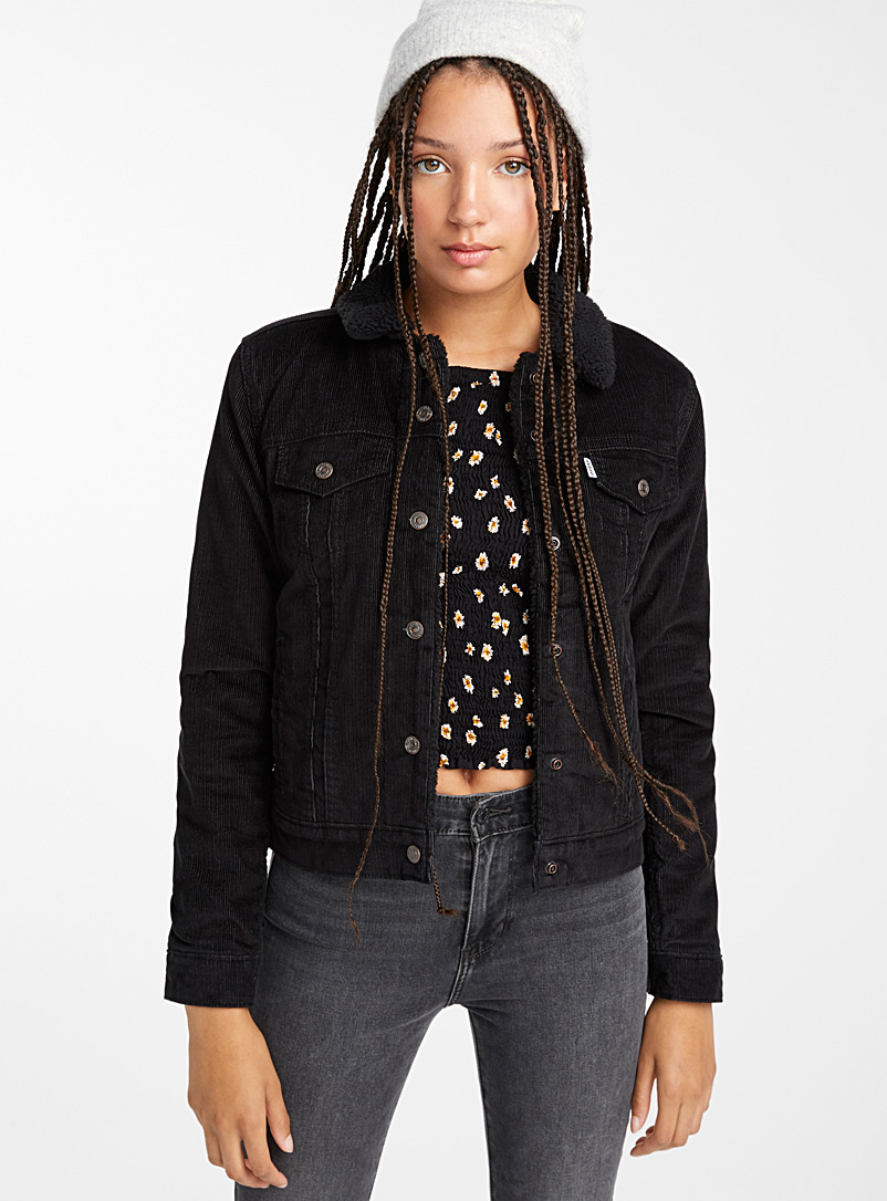 Levi's Black Sherpa-lined corduroy jacket for women