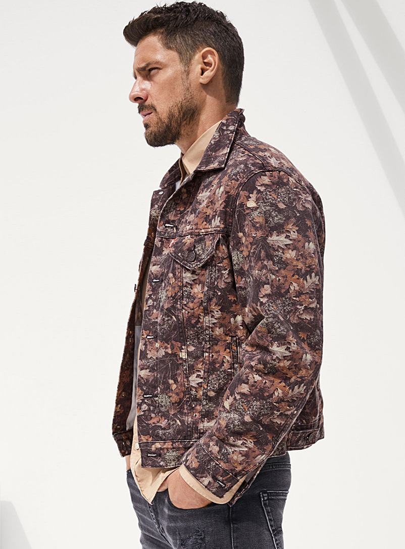 Levi's Patterned Green Leaf camo Trucker jean jacket for men
