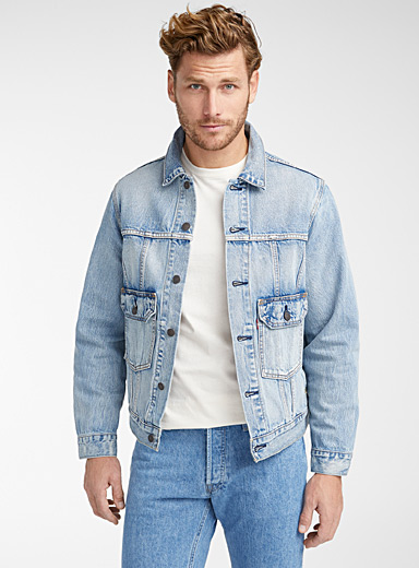Levi's Slate Blue Graphic pocket trucker jean jacket for men