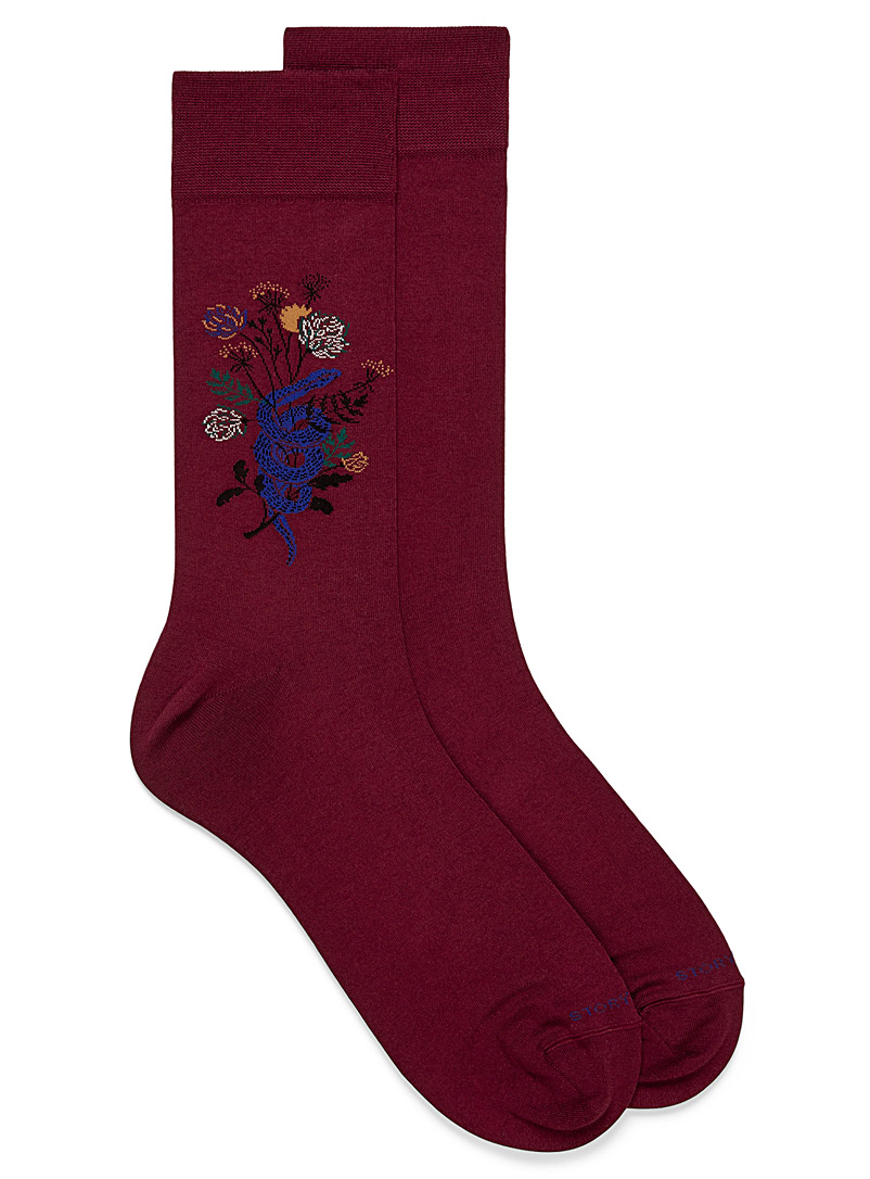 Snake and flower sock - Dressy socks - Ruby Red