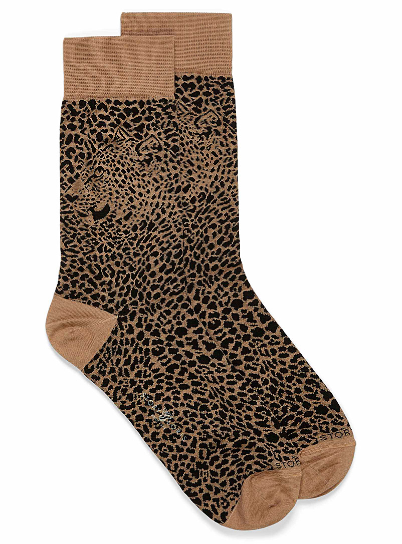 Story Loris Black and White Leopard sock for men