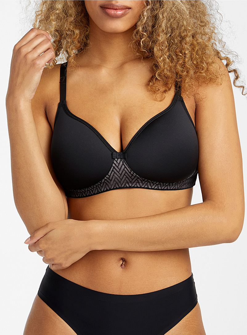 Wonderbra Black Herringbone lace wireless bra for women