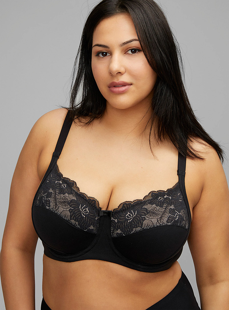 Wonderbra Black Lace-insert full coverage bra Plus size for women
