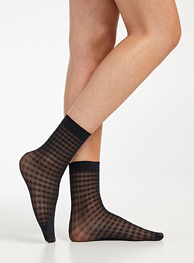 DIM Black Sheer gingham ankle socks for women