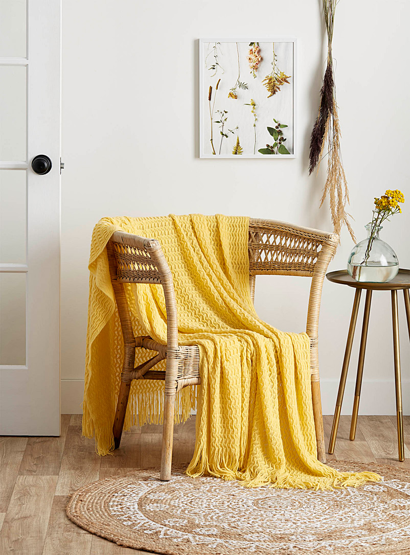 3D-wave throw  130 x 150 cm - Throws - Light Yellow