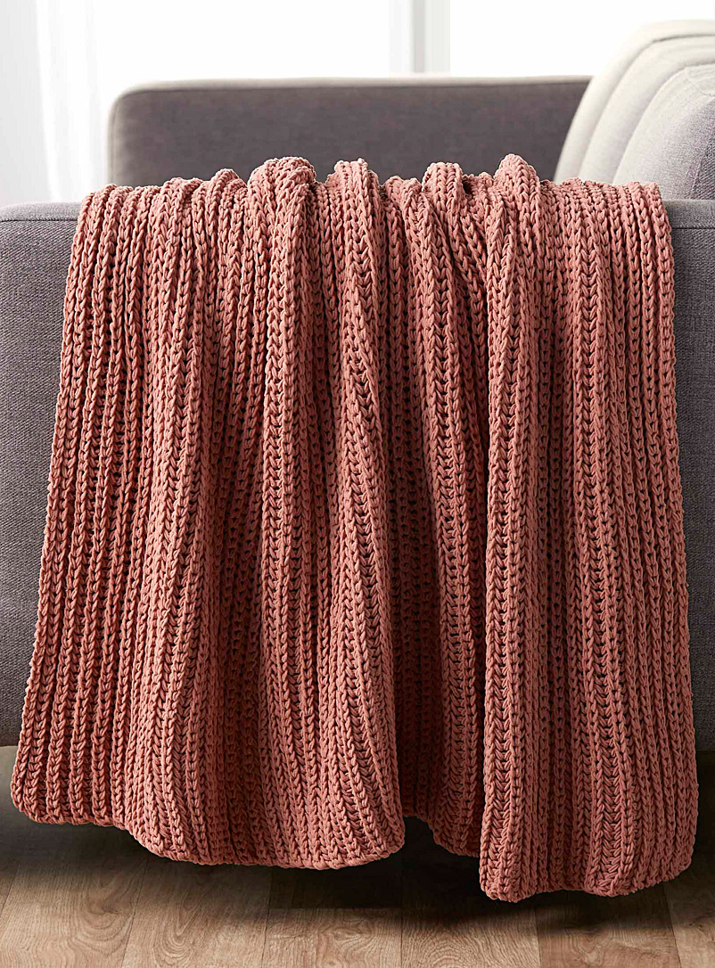 Soft chenille knit throw  130 x 150 cm - Woven - Peach