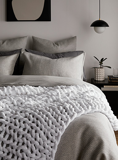 Simons Maison White Fishing net throw  130 cm x 150 cm