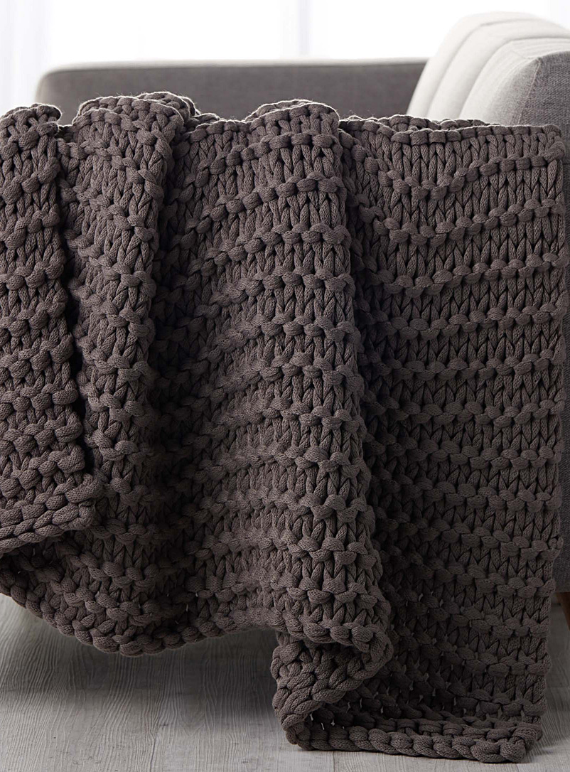 Chunky knit throw  130 x 150 cm - Woven - Dark Grey