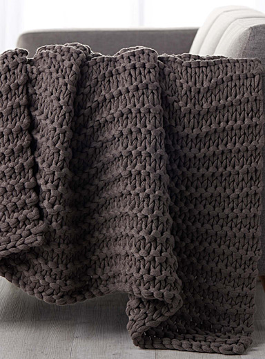Chunky knit throw  130 x 150 cm