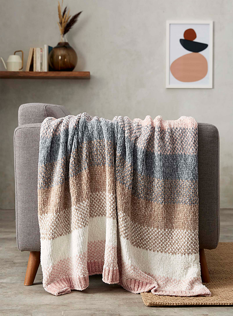 Simons Maison Assorted Graded pastel chenille throw  130 x 170 cm