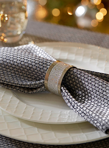 Silver sequin napkin ring