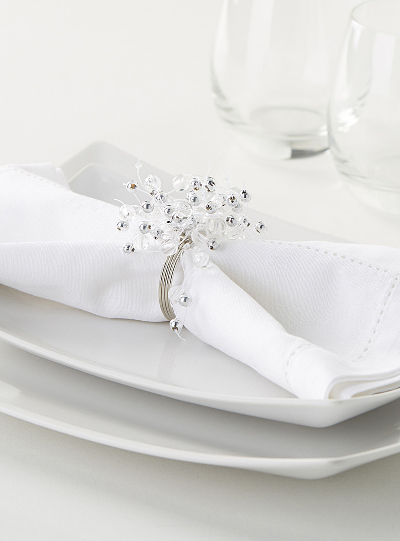 Frosted bead napkin ring - Napkin Rings - White