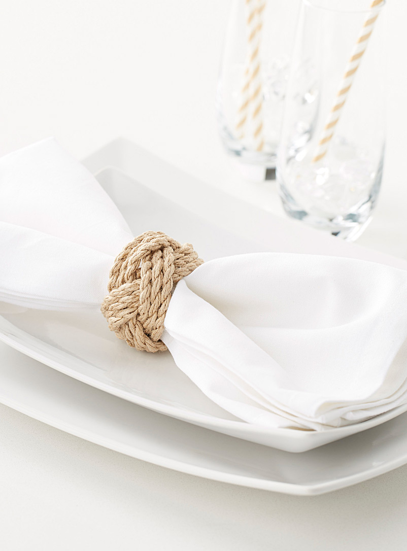 Knotted rope napkin ring - Napkin Rings - Sand