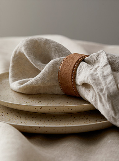 Worn leather towel ring