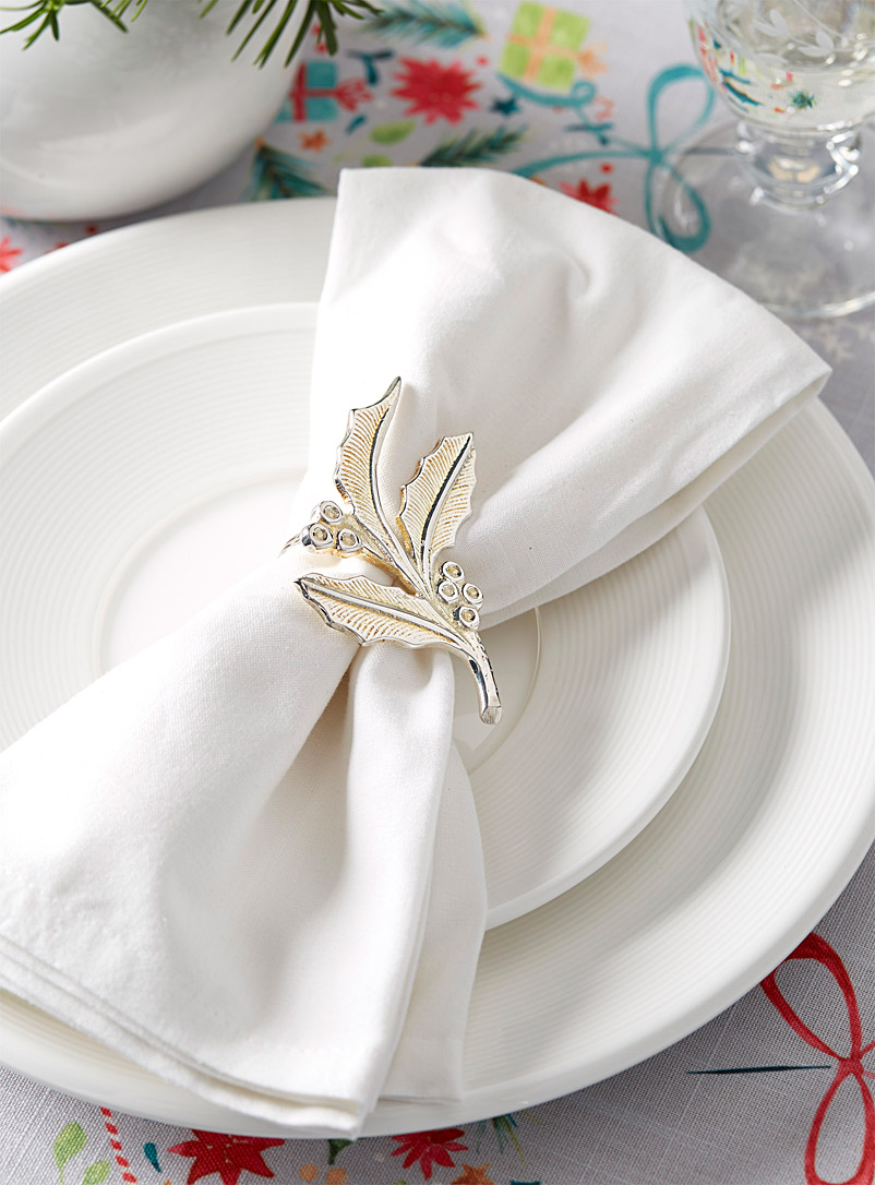 Holly leaf napkin ring - Napkin Rings - Silver