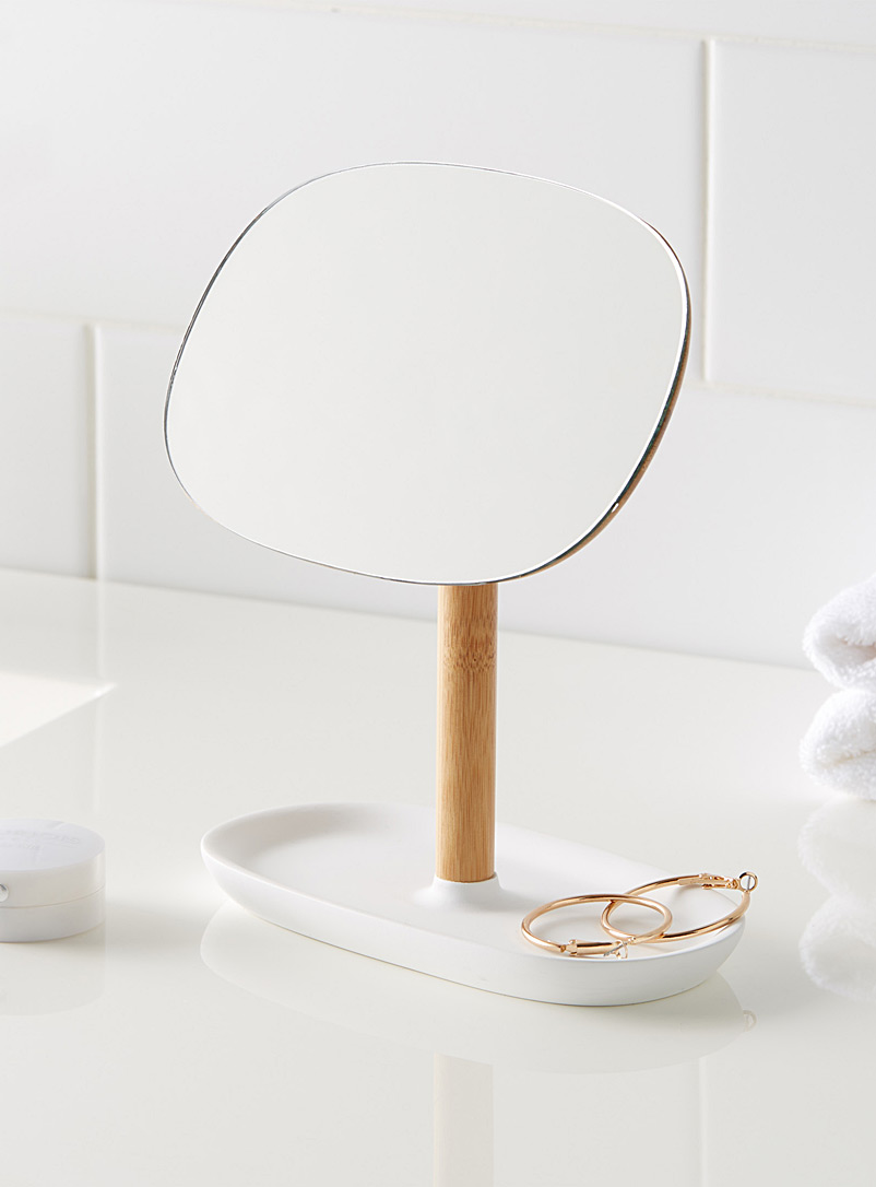 Bamboo standing mirror - Accessories & Wastebaskets - White