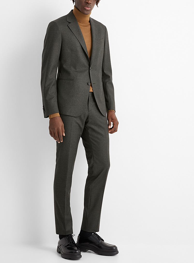 Z Zegna Green Heathered flannel suit for men