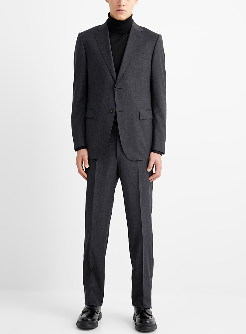 Z Zegna Charcoal Blurred mini-check suit for men