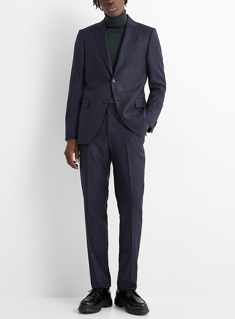 Z Zegna Marine Blue Graphic Prince of Wales suit for men