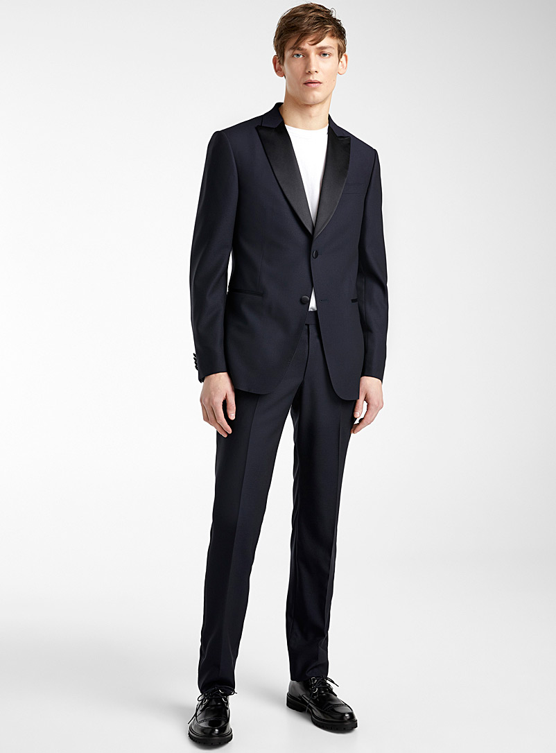 Z Zegna Marine Blue Two-tone tuxedo suit for men