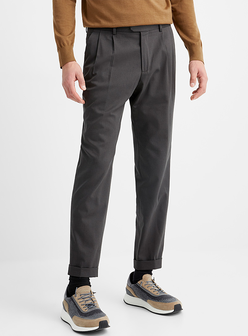 Z Zegna Mossy Green Folded-cuff twill pant for men