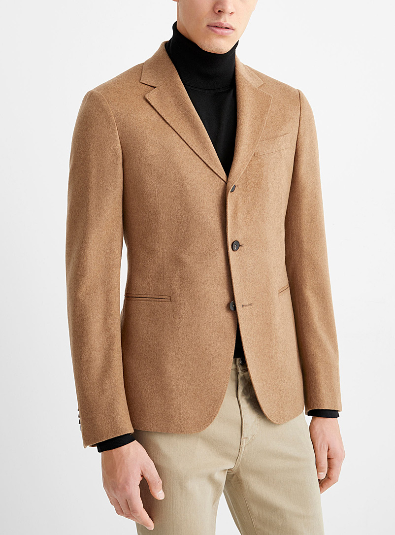 Z Zegna Honey Scotch-coloured flannel jacket for men