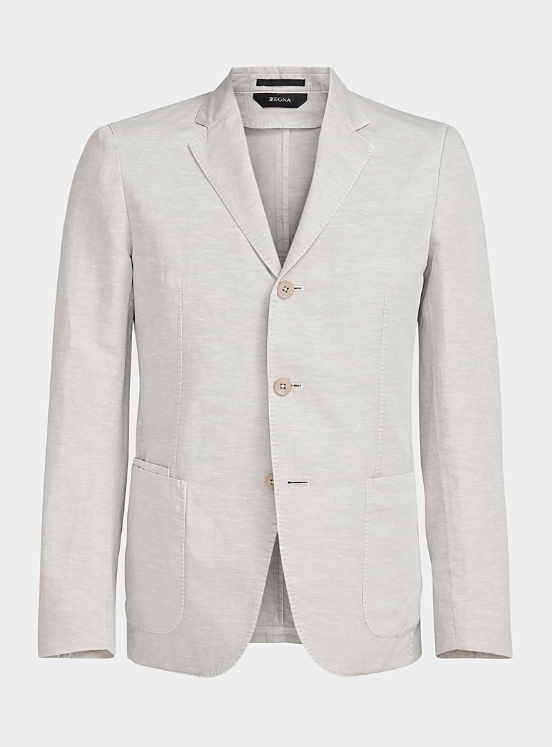 Z Zegna Light Grey Casual linen blazer for men