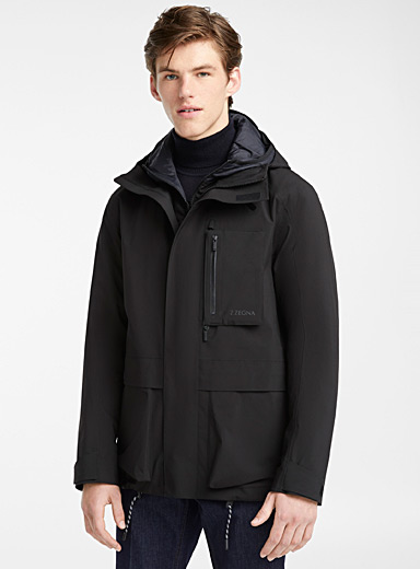 Hooded techno parka