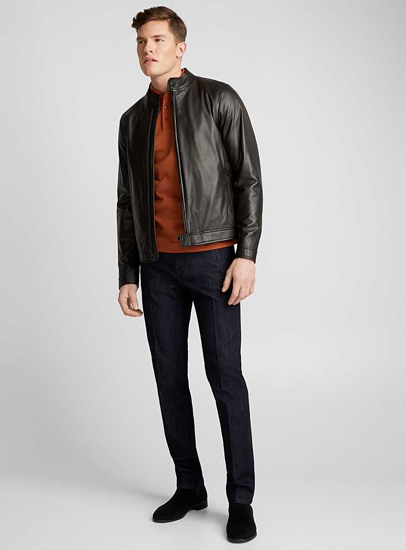 Straight collar leather jacket - Z Zegna - Black