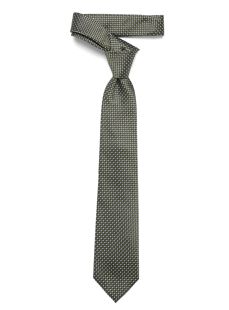 Z Zegna Mossy Green Geo jacquard tie for men