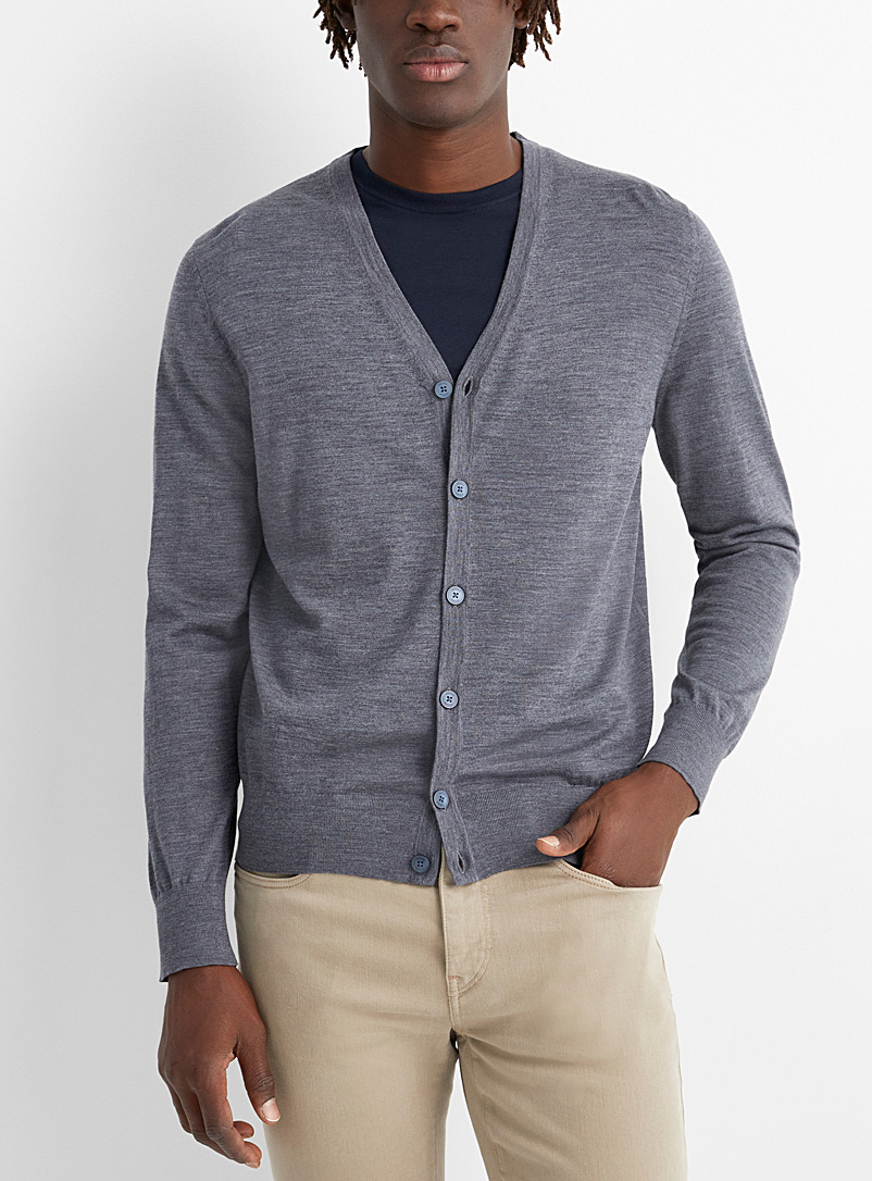 Z Zegna Charcoal Light wool heather cardigan for men
