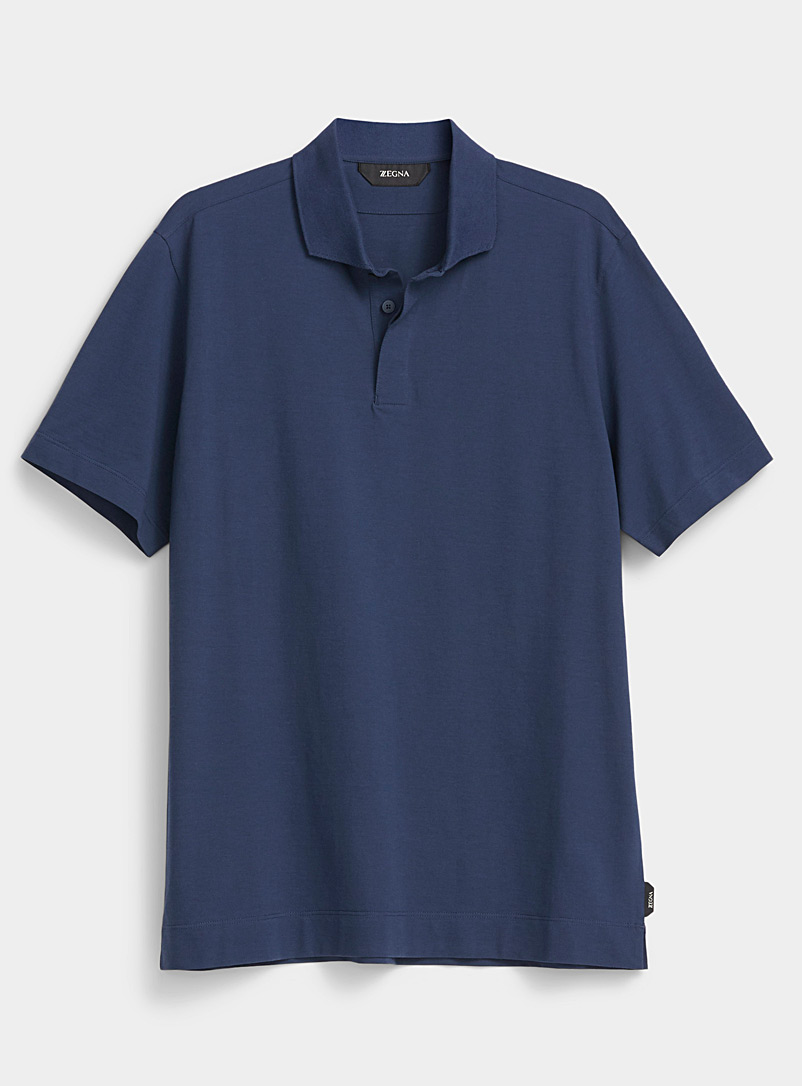 Z Zegna Marine Blue Classic polo for men