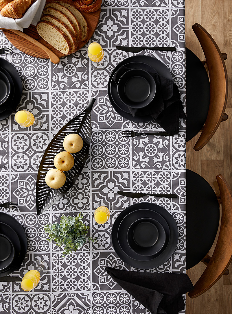 Mosaic tile coated tablecloth