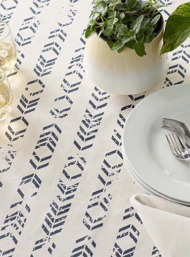 Chevron stripe coated tablecloth