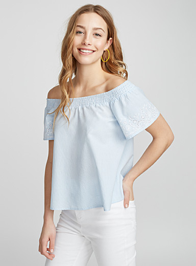 Embroidered sleeve off-the-shoulder blouse