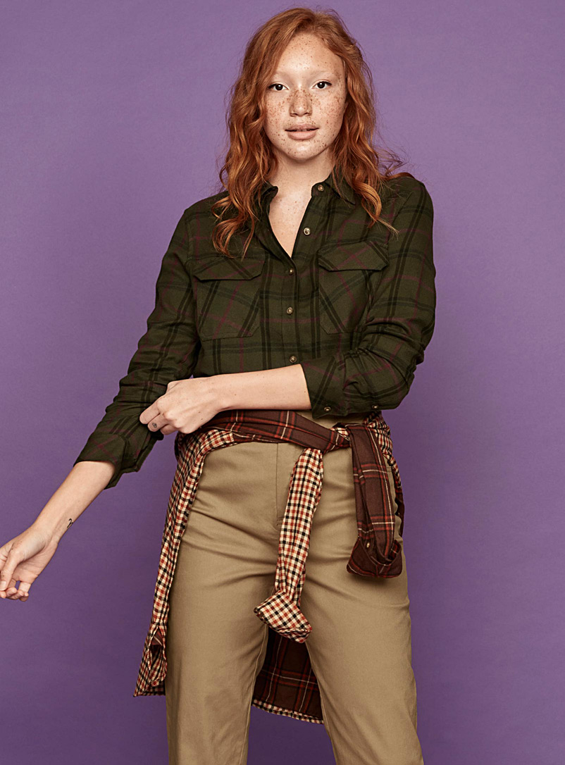 Twik Green Fine flannel boyfriend shirt for women