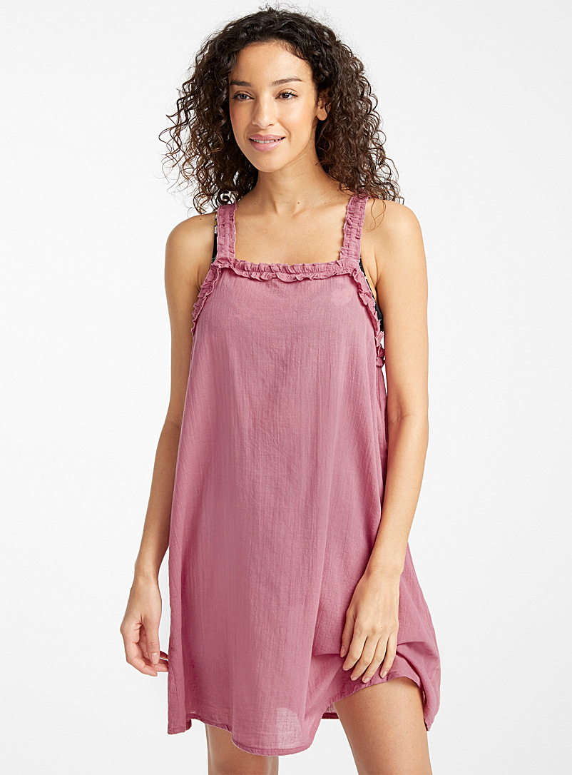 Simons Pink Ruffle-edge beach dress for women