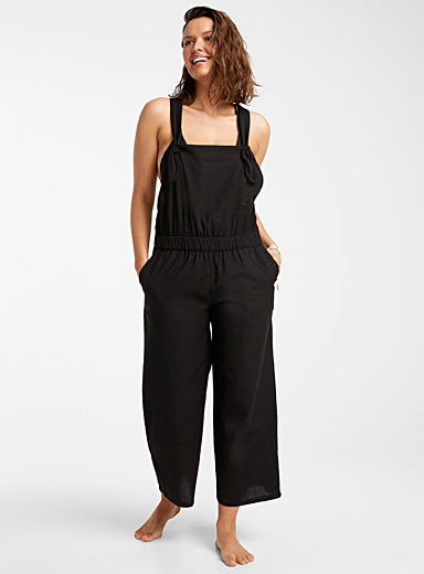 Loose organic cotton overalls