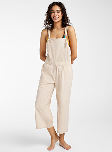 Simons Cream Beige Loose organic cotton overalls for women
