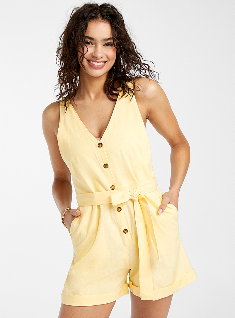 Simons Light Yellow Buttoned romper for women