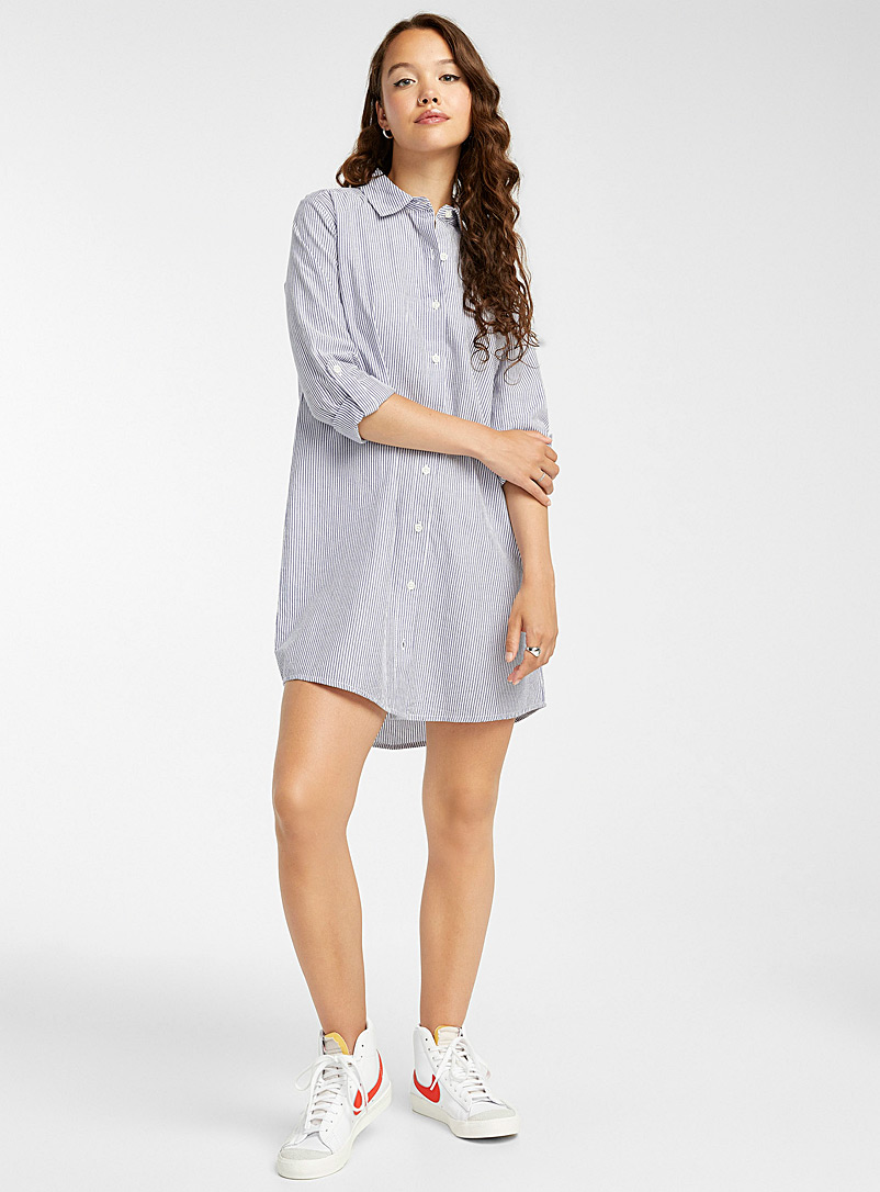 Twik Patterned Blue Printed organic cotton shirtdress for women