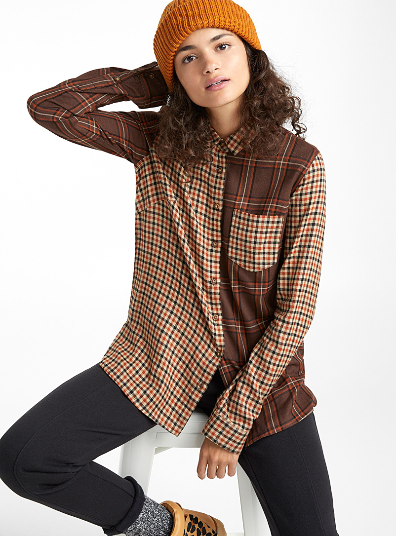 Twik Brown Patchwork plaid shirt for women