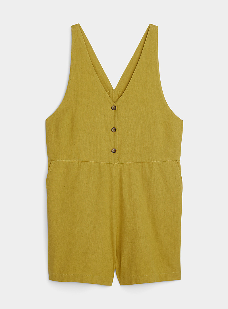Simons Khaki Organic cotton V-neck buttoned romper for women