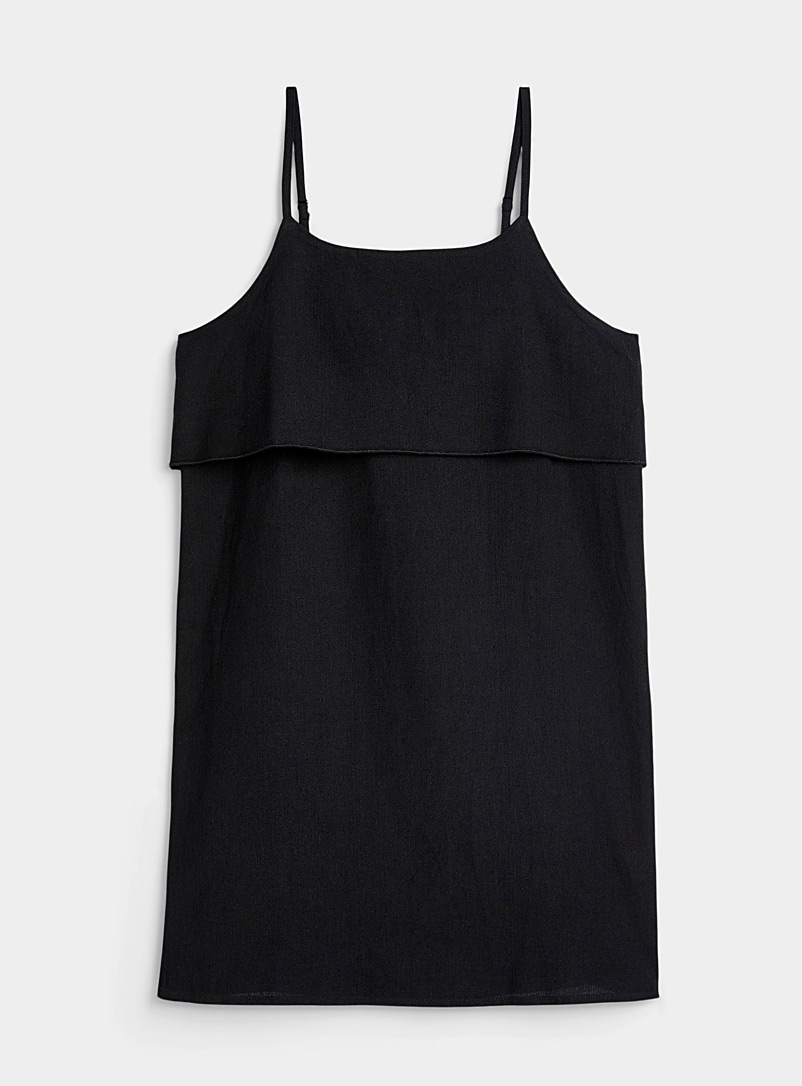 Simons Black Organic cotton straight collar dress for women