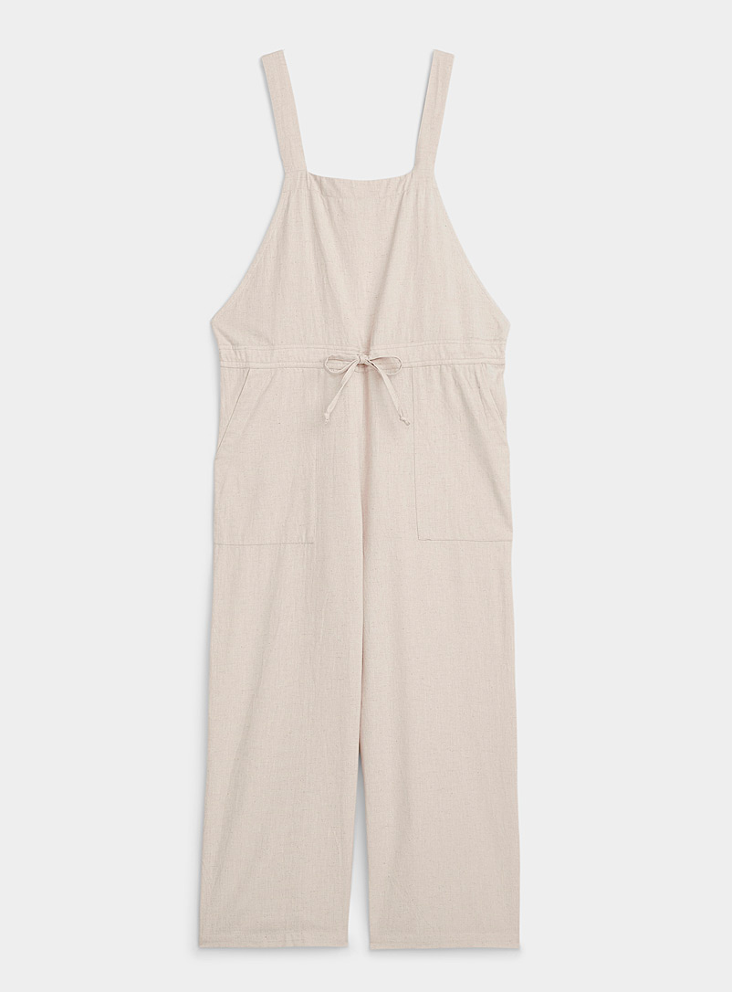 Simons Cream Beige Organic cotton beach overalls for women