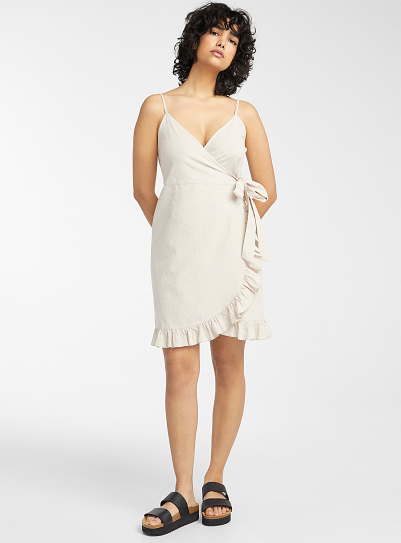 Simons Cream Beige Ruffled wrap beach dress for women