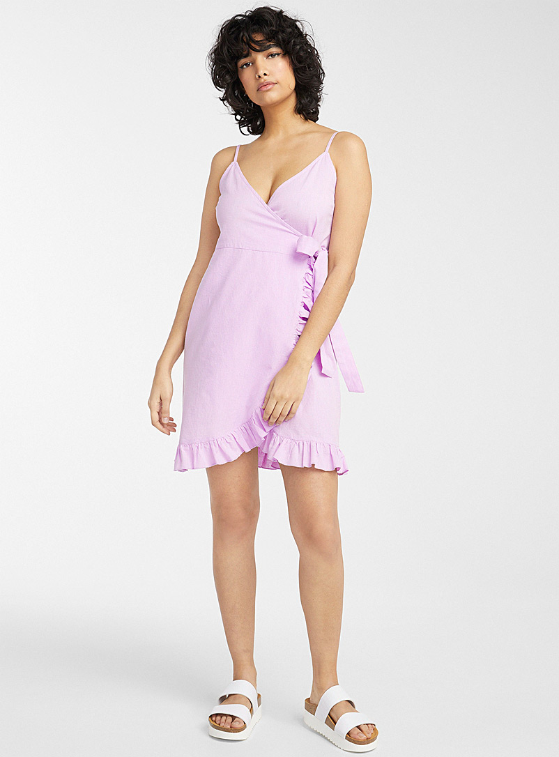Simons Pink Ruffled wrap beach dress for women