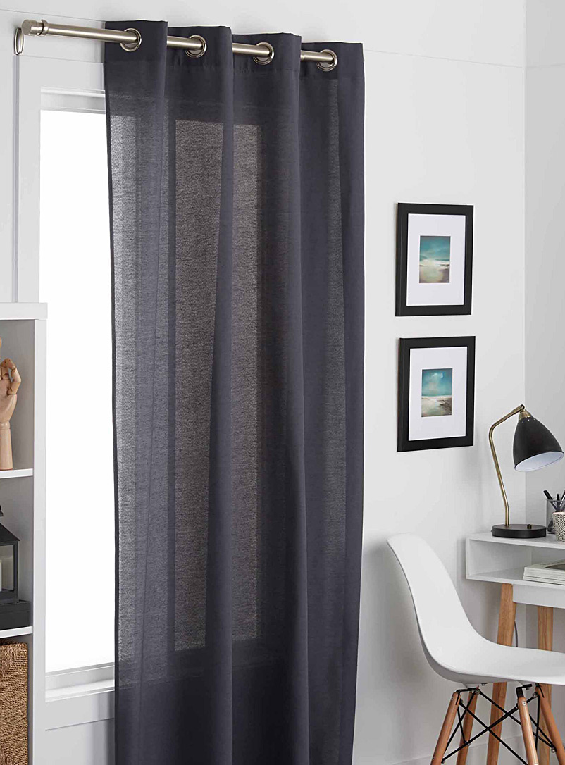 Cotton cloth curtain  135 x 220 cm - Solid - Charcoal