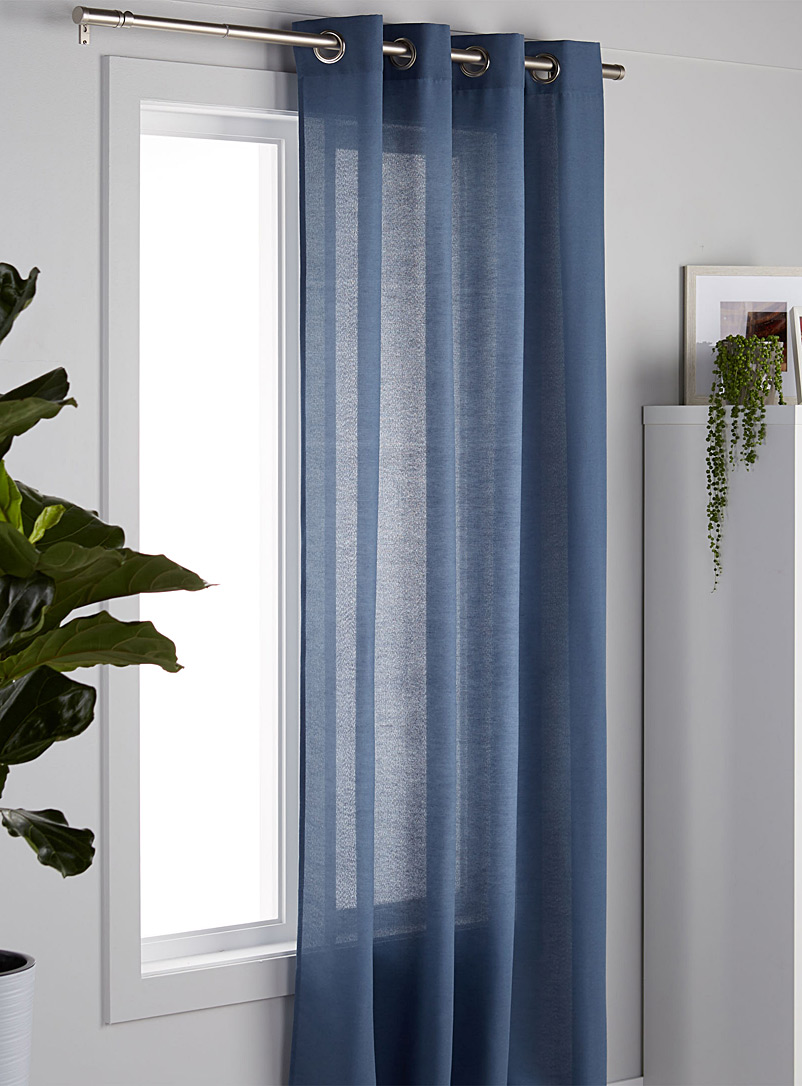 Cotton cloth curtain  135 x 220 cm - Solid - Marine Blue