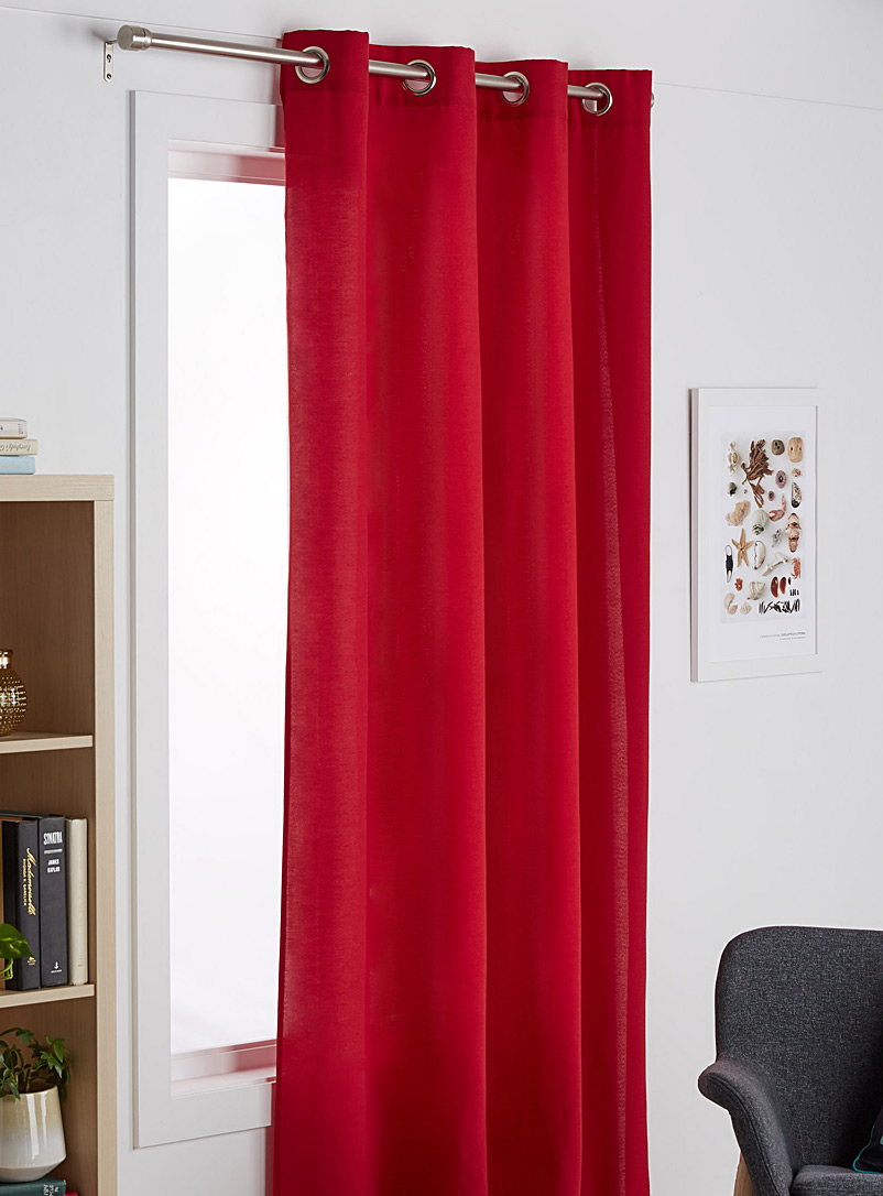 Cotton cloth curtain  135 x 220 cm - Solid - Red